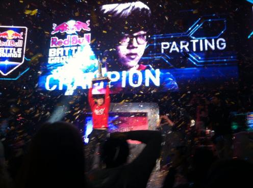 A photo I took of Parting as he won the NYC Battlegrounds tournament.